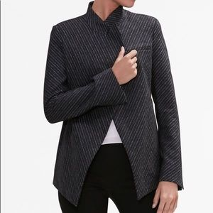Mm lafleur oliver pinstripe grey wool blend blazer
